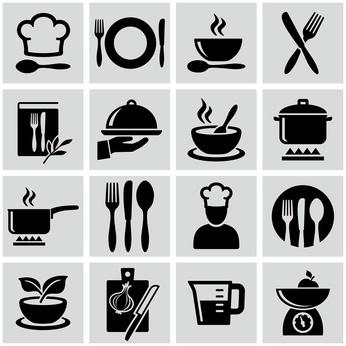 Ikonky varenia a jedla