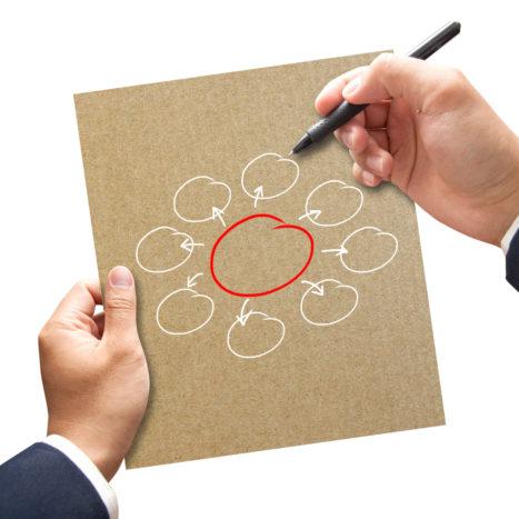 Business man writing diagram